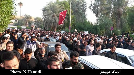 استقبال گرم و پرشور مردم اهواز از پیکر شهدای مدافع حرم
